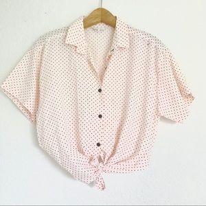 Pink Polka Dot Button Down Vintage Top